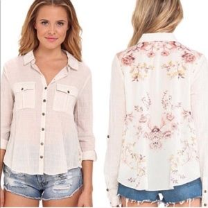 Free People Tops Floral Party In The Back Button Up Med Poshmark